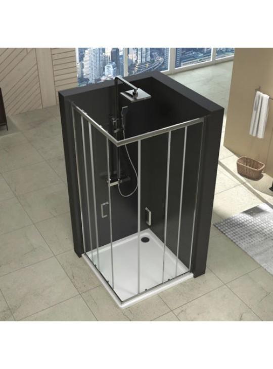 Duschkabine 80x80 mit Duschtasse Duschabtrennung Eckeinstieg Schiebetür ESG Glas